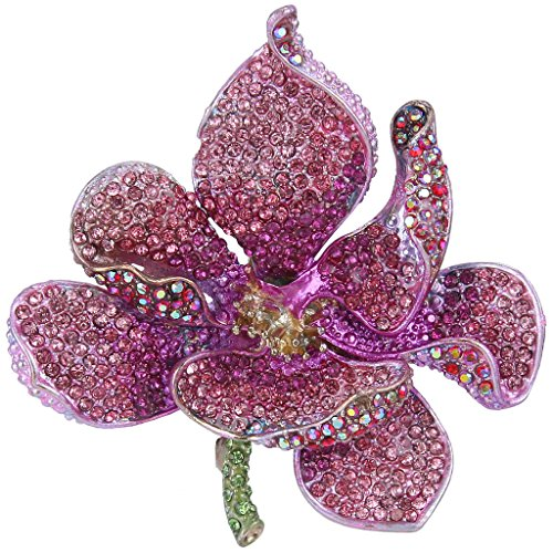 EVER FAITH Women's Austrian Crystal Orchid Flower Petal Brooch Pink Gold-Tone -