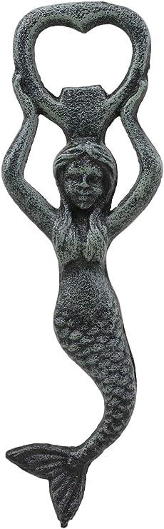 "Mermaid Sea Maid Bottle Opener Nautical handmade Cast Verdigris Bronze 7/"""