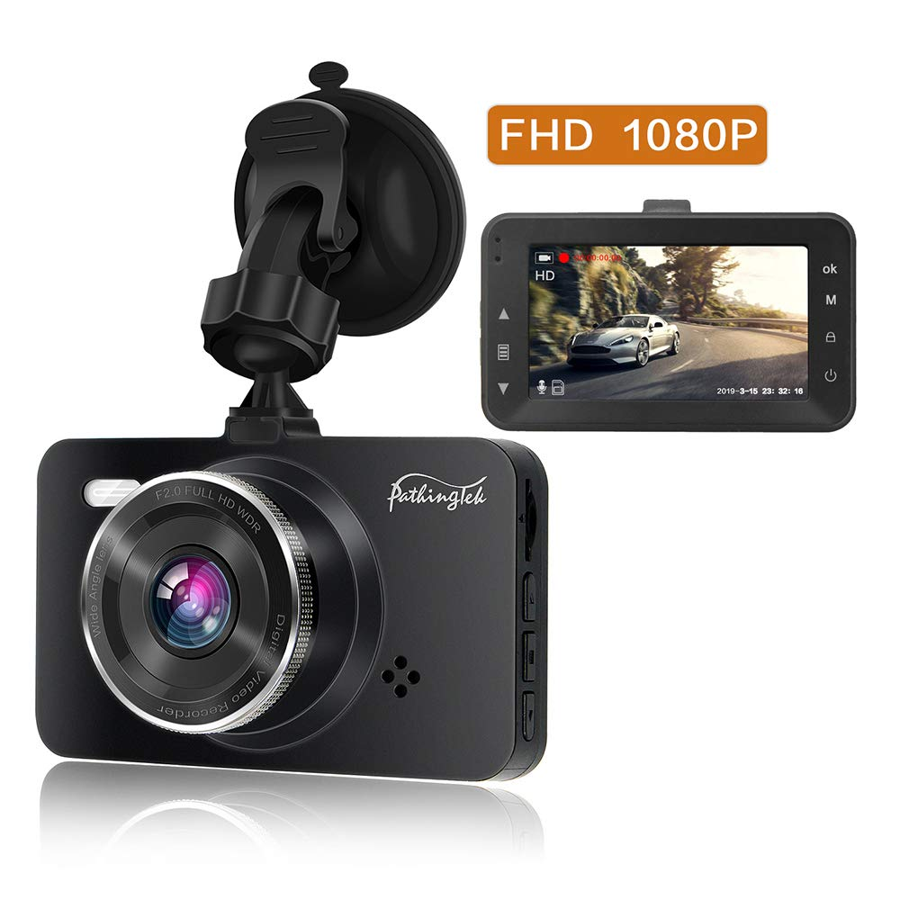 Pathinglek Mini Dash Cam 1080P FHD Car Dashboard Camera/ 3 inch Car Driving Recorder with Super Night Vision 170/°Wide Angle Loop Recording and Motion Detection Parking Monitor Black