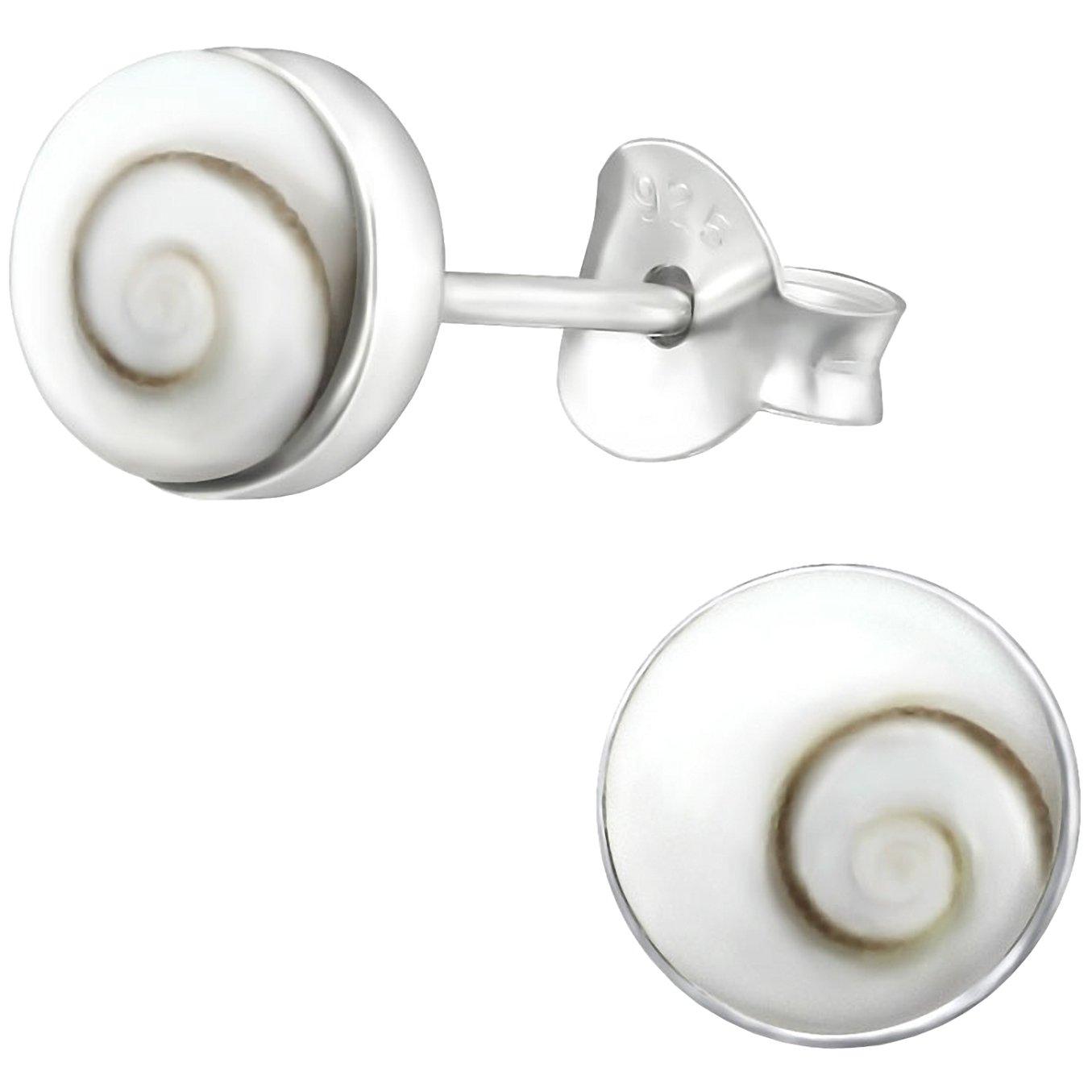 EYS JEWELRY boucles doreilles pour dames rondes argent sterling 925 Coquillage blanc clou doreilles femme