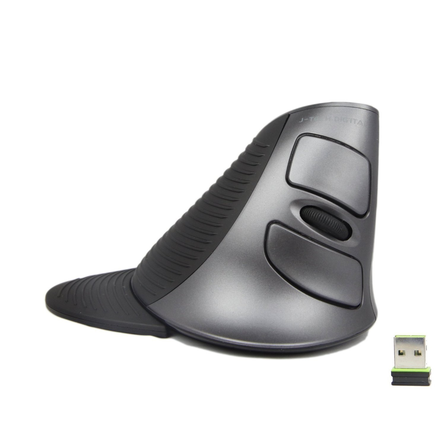 J-Tech Digital Scroll Endurance Wireless Mouse Ergonomic Vertical USB Mouse Adjustable Sensitivity (600/1000/1600 DPI), Removable Palm Rest & Thumb Buttons - Reduces Hand/Wrist Pain