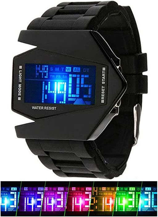 Kids Mens Digital Sport Watch Warcraft Fighter Multi Function for Age Above 12 LED 50M Outdoor
