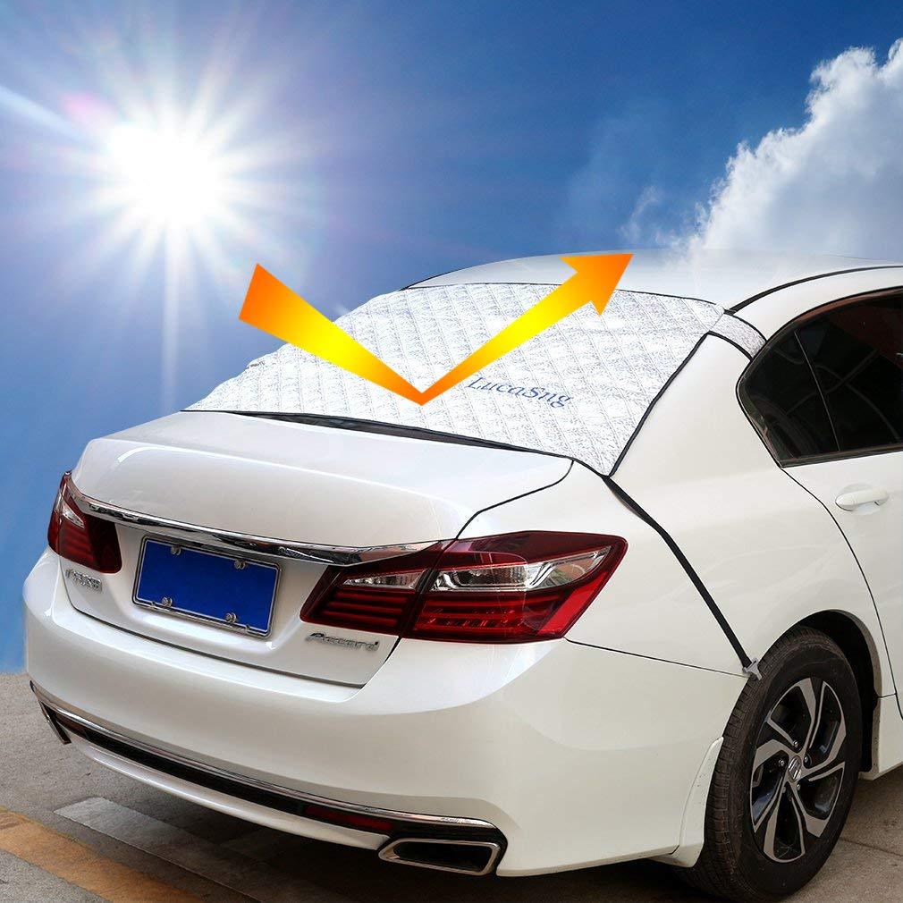 LucaSng Rear Windshield Sunshades/Snow Cover, 55.5'x30.7' Sun Shade Protector Shield Guard fit for Sedan Car 55.5x30.7 Sun Shade Protector Shield Guard fit for Sedan Car