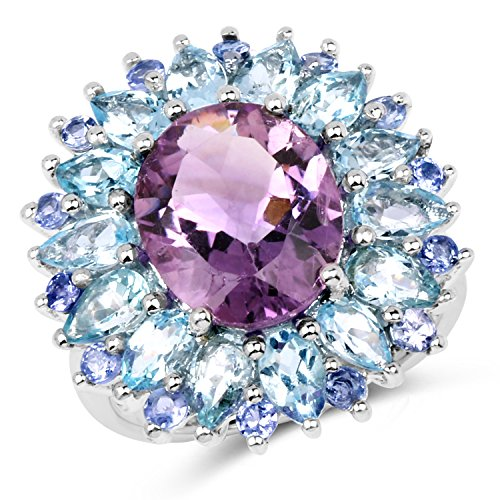 Universal Jewels 925 Sterling Silver Ring 7.79 Ct Genuine Amethyst, Blue Topaz & Tanzanite