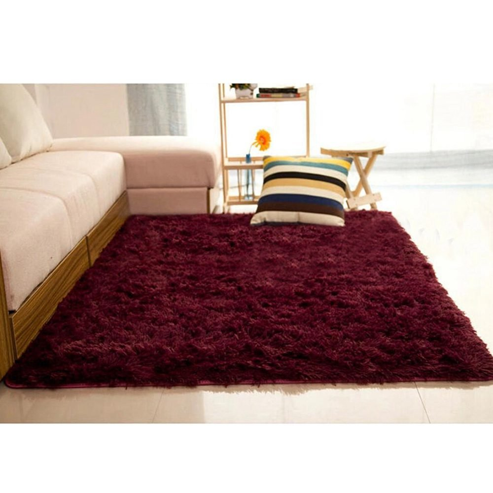 Fluffy Anti-skid Shaggy Area Rug Carpet Home Bedroom Floor Room Mat 140 70cm Black TOOGOO R