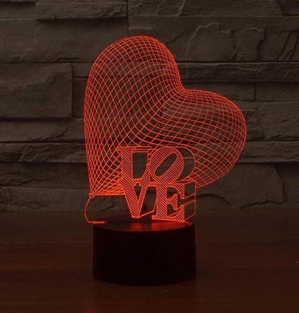 Noël 3d Amour Coeur Led Nuit Lumière Atmosphère Romantique