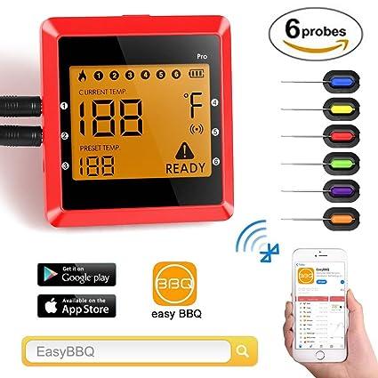 Termómetro de barbacoa 6 sondas de alimentos de carne termómetro, remoto inalámbrico digital inteligente 6