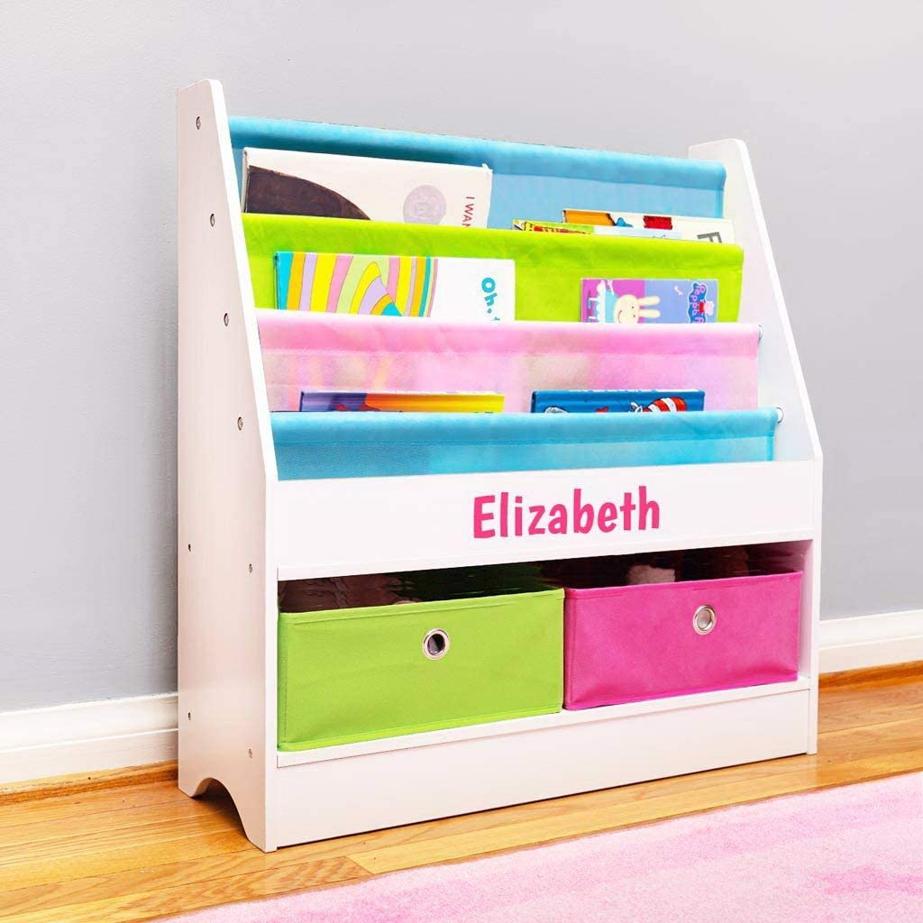 Bookshelf with Storage - White with Pastel Fabric DIBSIES ...