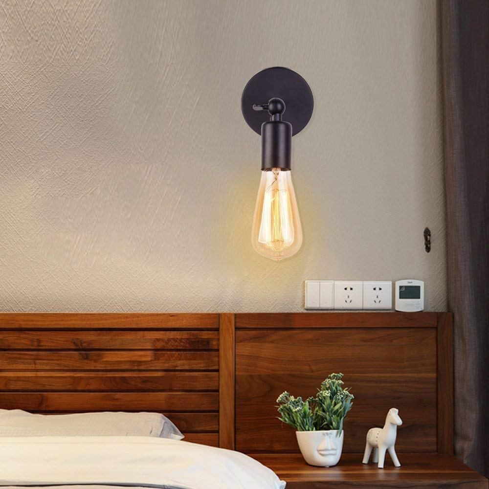 Huahan Haituo Simplicity Vintage Industrial Sconce Wall Light E27 Edison Black Wire Lamp Holder No Bulb Included