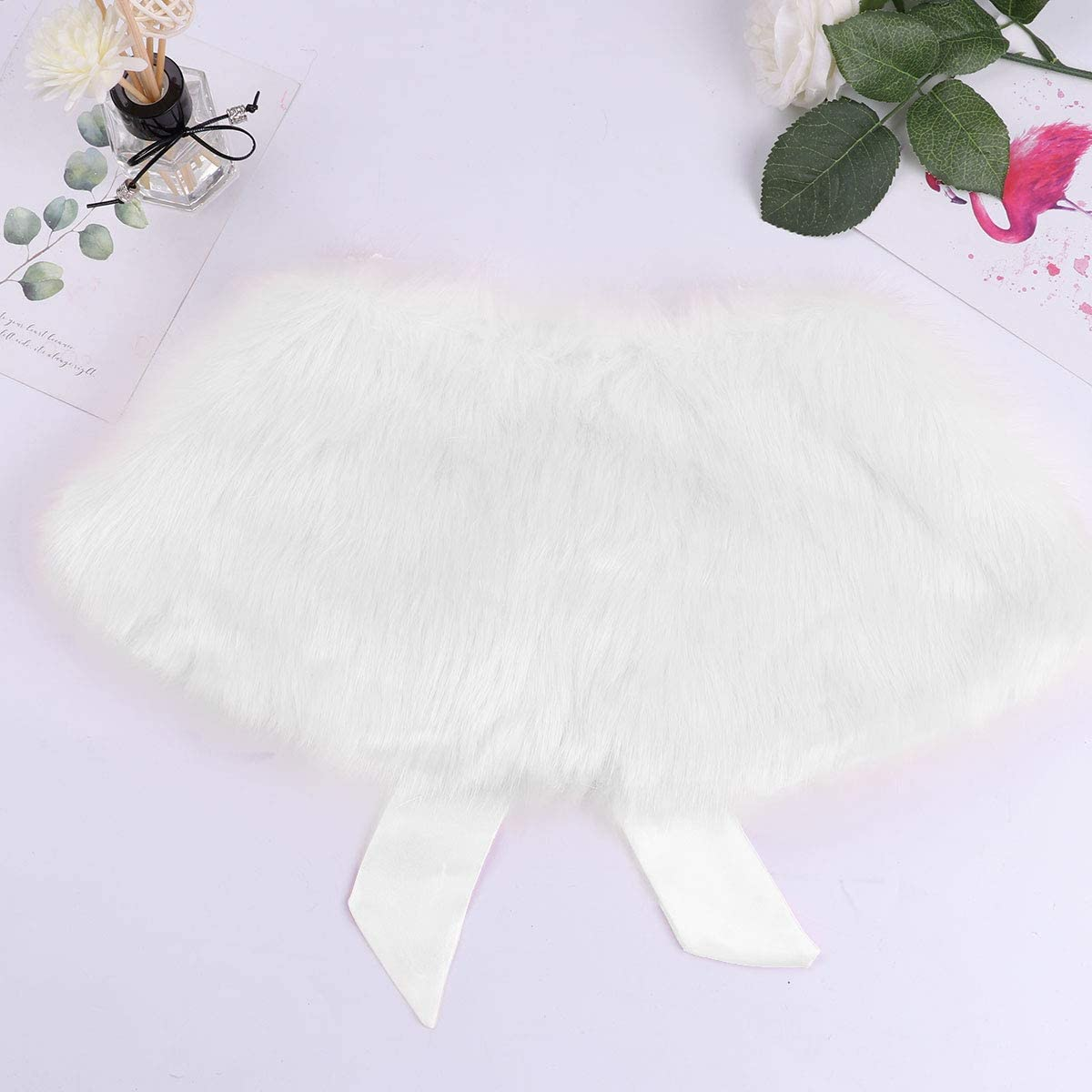 Agoky Kids Girls Faux Fur Cape Tippet Flower Girl Bolero Shrug Jacket