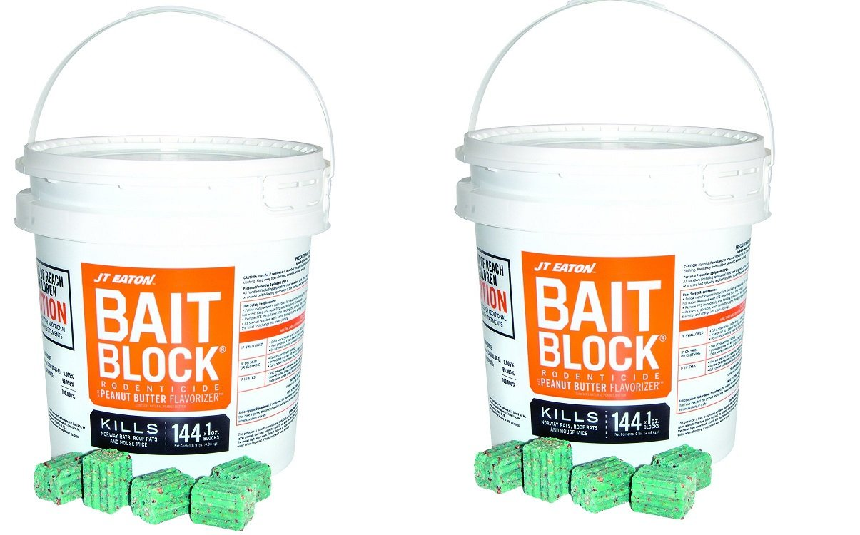 JT Eaton 709-PN Bait Block Rodenticide Anticoagulant Bait, Peanut Butter Flavor, For Mice and Rats (Pail of 144) (2 X 144) by J T Eaton