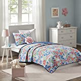 N2 3 Piece Girs Blue Red Yellow Green White Benny Themed Coverlet Twin Set, Kids Flower Garden Bunnies Bedding, All Over Multi Color Floral Gardens Friendly Happy Animal Pattern, Polyester