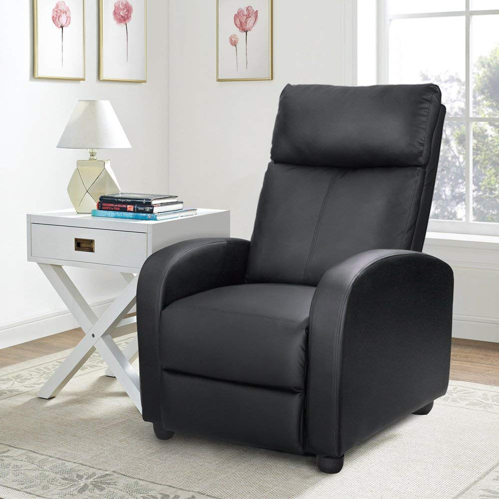 Black Waleaf Single Recliner Chair Padded Seat Black PU Leather Living Room Sofa Recliner Modern Recliner Seat Home Theater Seating