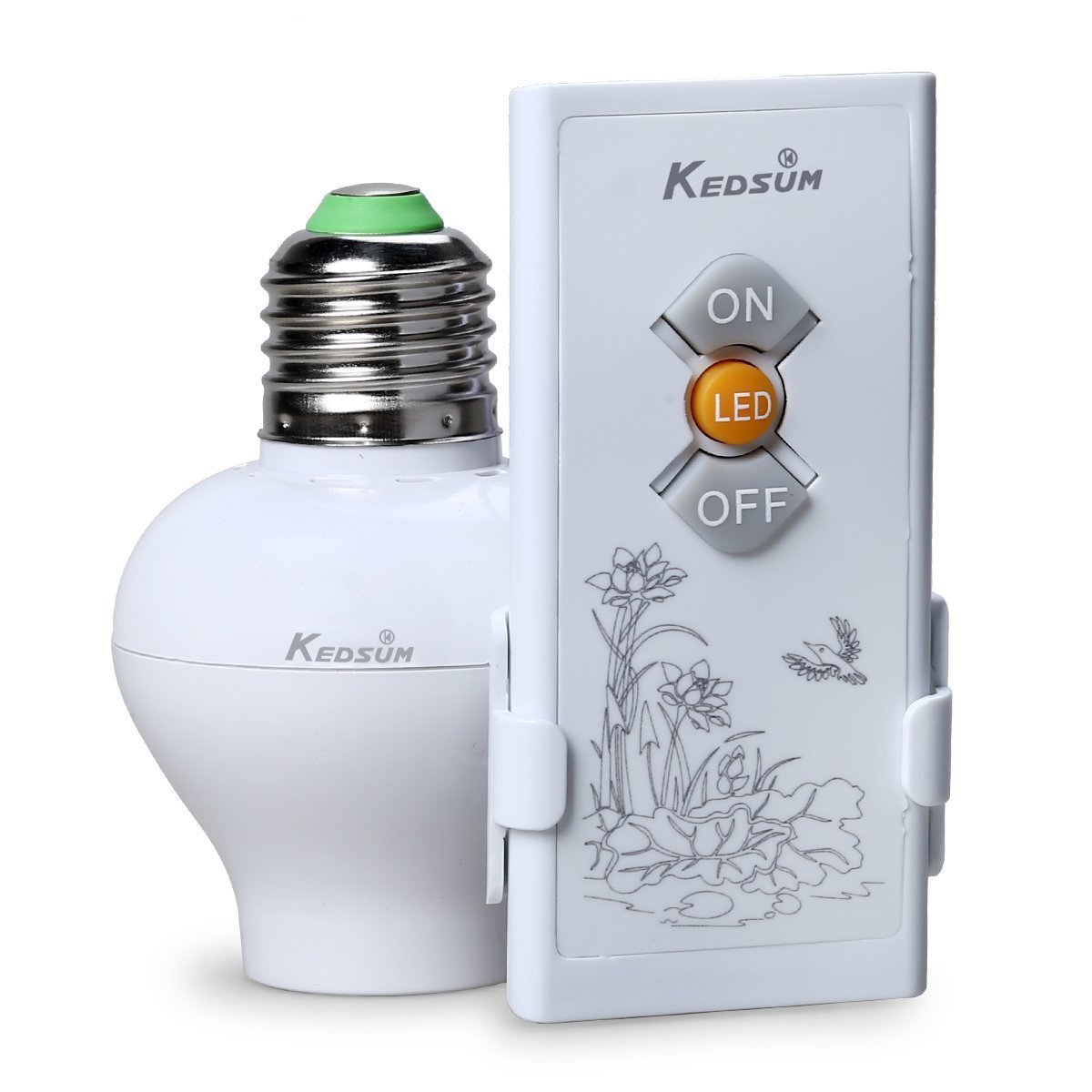 KEDSUM Wireless Remote Control E26/E27 Light Bulb Socket & ON/OFF Remote Controller Switch, Wireless Light Switch Kit, Remote Lighting Fixtures
