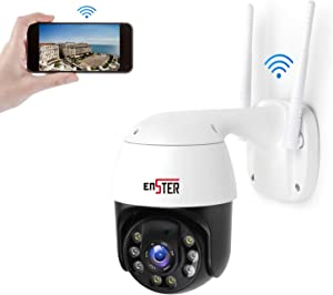 PTZ Camera,360Pan 90Tilt 4 x Zoom WiFi Security Camera Outdoor,Light Color Night Vision Metal 24/7 Home Security Camera,ENSTER 1080P Waterproof IP Surveillance with PIR Motion Detection,Two-Way Audio