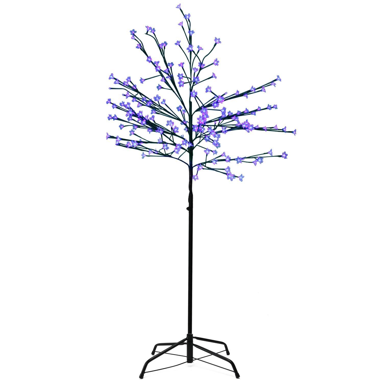Northlight 6' LED Lighted Japanese Sakura Blossom Flower Tree – Blue Lights