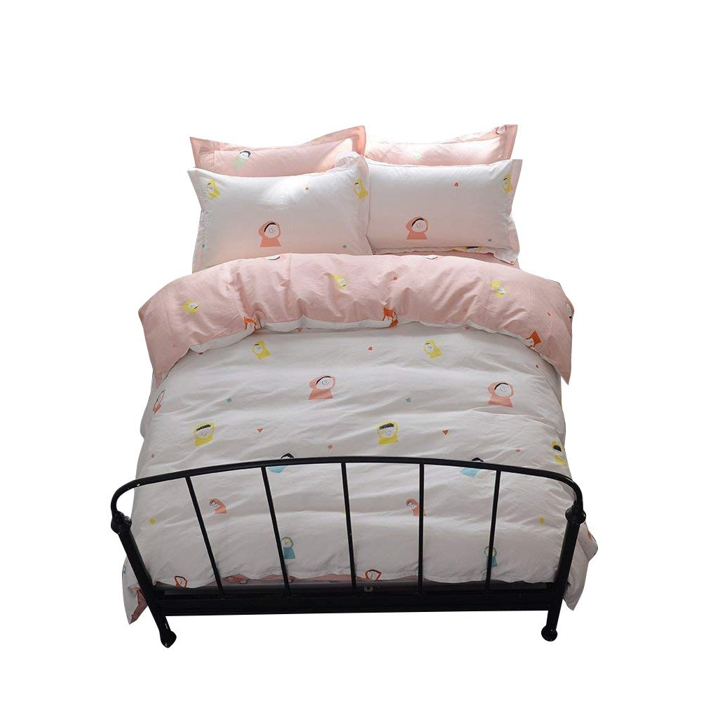 XUKEJU Ultra Soft /& Smooth Bedding Reversible Solid Color 3 Pieces Duvet Cover Set with Two Pillowcases Buttons Long-staple Cotton with 4 Corner Ties Comforter Cover King//Cal-King Size