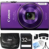 Canon PowerShot ELPH 360 HS Purple Digital Camera 32GB Card Bundle includes Camera, 32GB Memory Card, Reader, Wallet, Case, Mini Tripod, Screen Protectors, Cleaning Kit and Beach Camera Cloth For Sale