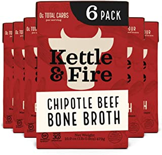 product image for Chipotle Beef Bone Broth by Kettle and Fire, Pack of 6, Keto Diet, Paleo Friendly, Whole 30 Approved, Gluten Free, with Collagen, 10g of protein, 16.9 fl oz