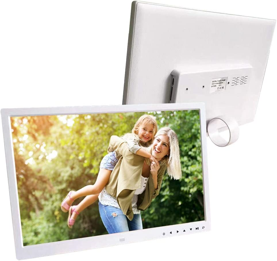 3.5mm Audio Jack HD 17Wide Screen Monitor with Photo//Music//Video//Calendar Function//Alarm Digital Picture Frame with Remote Control and Support USB Support 32G Memory Card White
