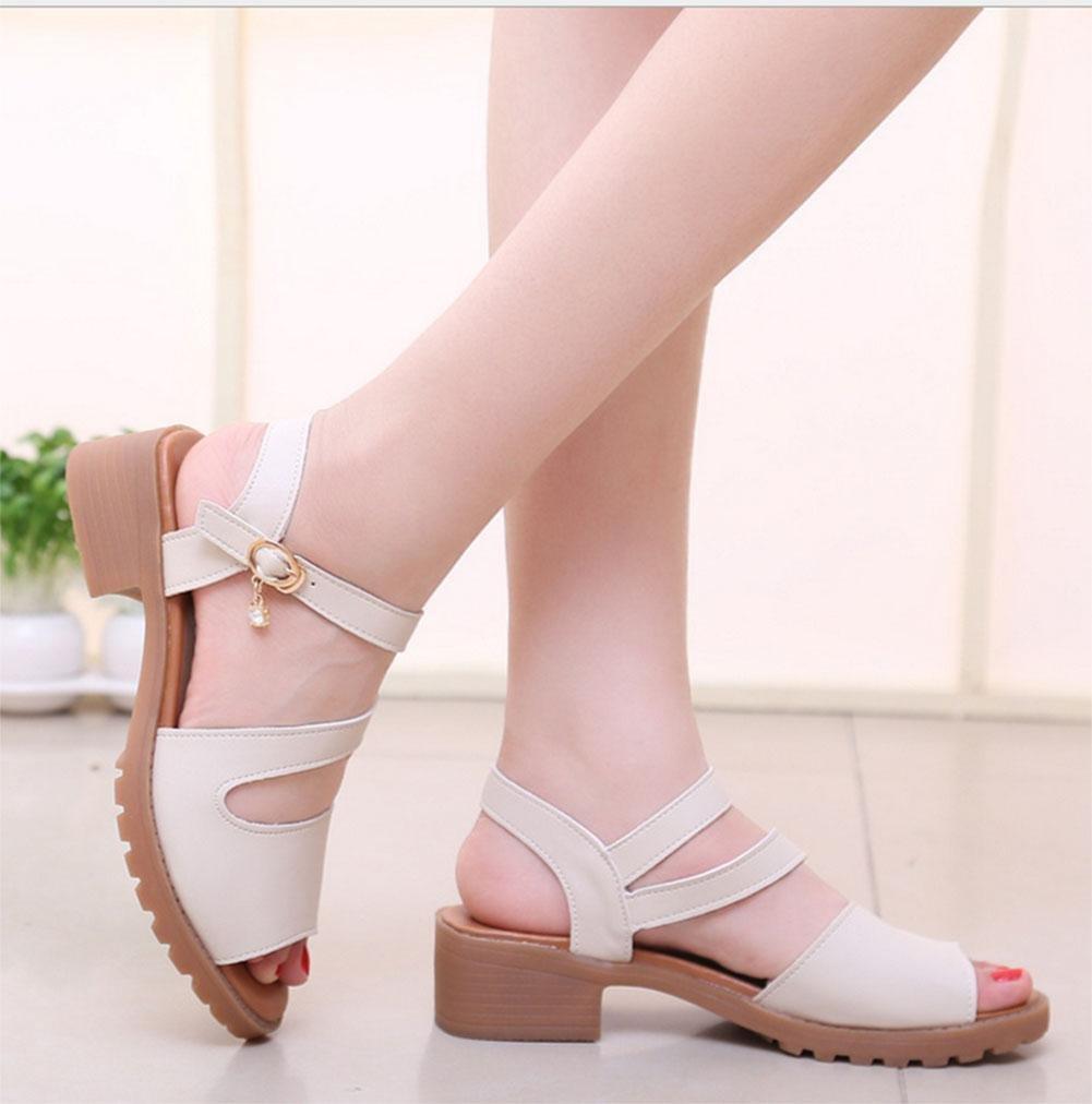 Stil offene Sandalen Frauen Wort mit schweren Boden Freizeitschuhe rutschfeste Schuhe wilde Freizeitschuhe Boden meters Weiß 4459d2