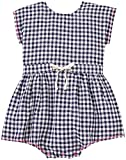 Egg by Susan Lazar Baby Girls' Checkered Romper, Navy, 24 Months