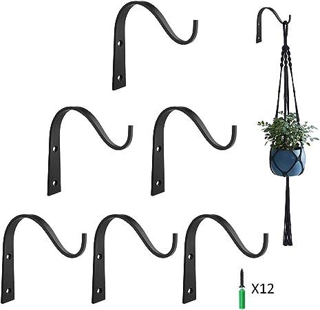 2 Pack Yanmao 6-Inch Plant Hooks Iron Wall Hanger Decorative Bracket Holder for Hanging Planter Lantern Bird Feeder Sconce
