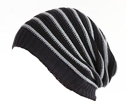 5db1f04de Beanie Hat Knitted Navy Blue Black and Grey Striped Long Baggy Style ...