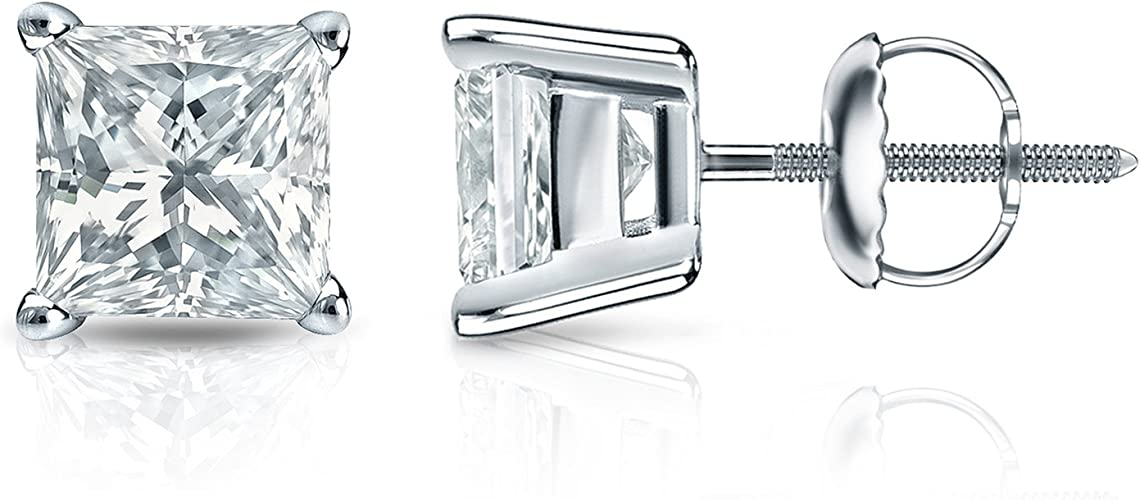 4Ct Princess Cut Black Diamond Solitaire Stud Earrings 18K Black Gold Finish