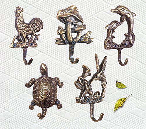 Set of 5 pieces / Decorative Brass Animal Wall Hook / Hanger / Rooster, Dolphin, Turtle, Hummingbird, Mushroom with Frog