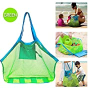 IBEET Beach Mesh Tote Bag, Beach Necessaries Children Toys Stay Away from Sand for the Beach Pool Boat, Perfect for Holding Toys Balls,Green