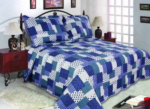 all for you 3 piece reversible bedspread coverlet quilt set king size 90 x 100 blue. Black Bedroom Furniture Sets. Home Design Ideas