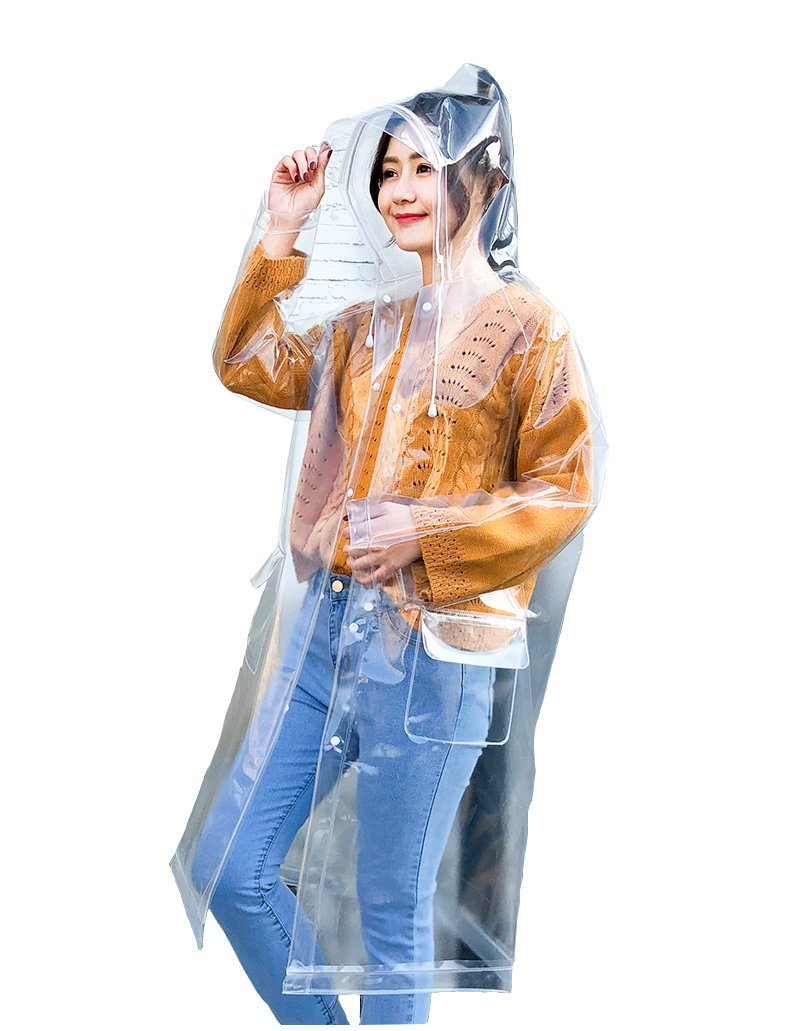 Freesmily Super Transparent Raincoat for Women Fashion EVA Waterproof Rain Poncho with Hood Drawstring (Transparent, M)