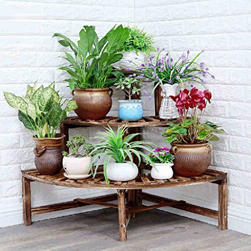 Corner Flower Racks Solid Wood Shelf Flower Pots Corner Living Room Balcony Floor To Floor Garden Frame by LITINGMEI Flower rack