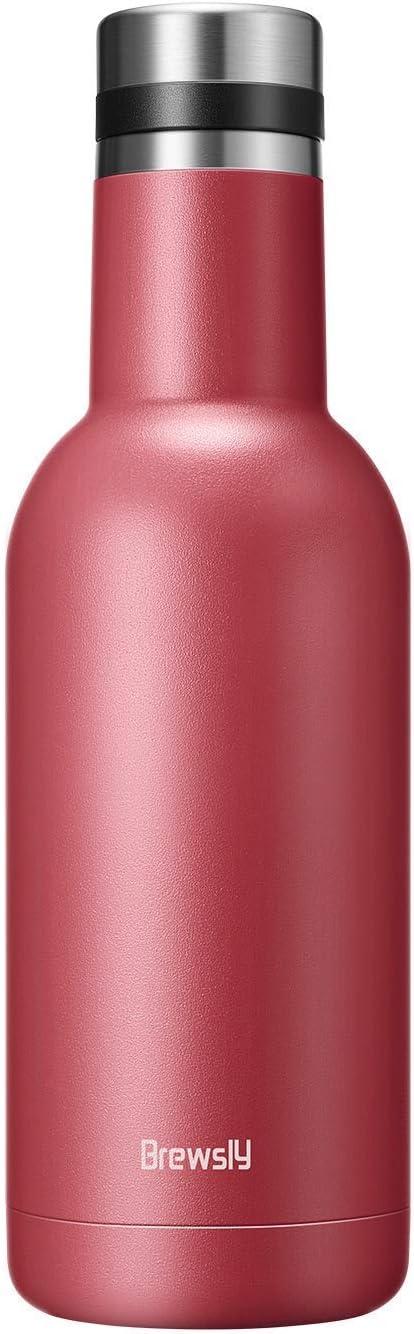 Brewsly Botella Agua Acero Inoxidable, Aislada al Vacío de Conserva Frío Doble Pared, con Doble Aislamiento para 12 Horas de Bebida Caliente y 24 Horas de Bebida Fría - Libre BPA - 750ML