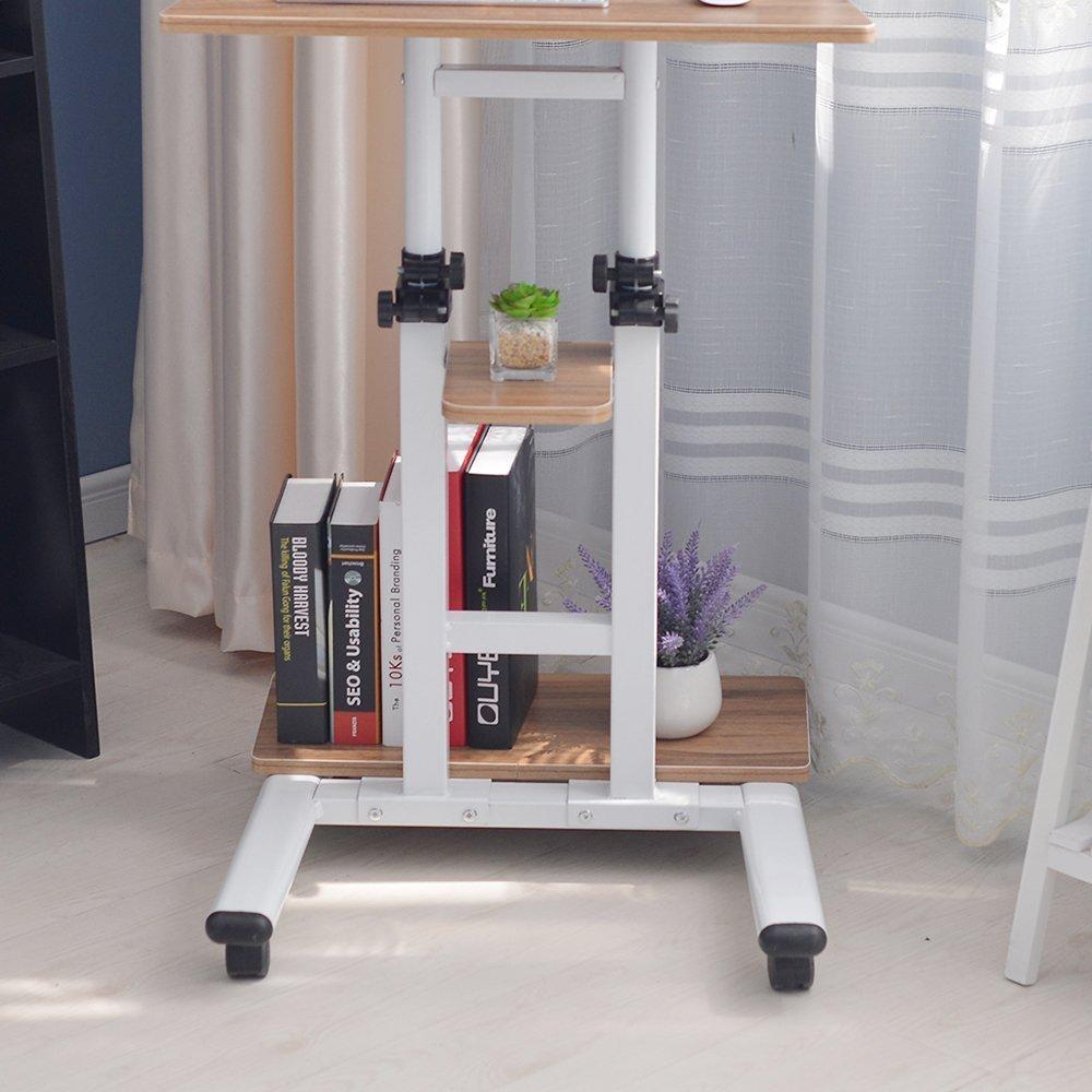 Monitor Wagen Trolley H/öhenverstellbarer Tischwagen Workstation DlandHome Mobile Ergonomischer Sit-Stand Computer St/änder Halterung mit Rollen Drehbar Eiche
