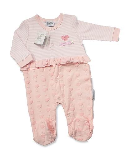 Bebé niñas rosa todo en uno pijama – amor y abrazos con volante rosa rosa Talla