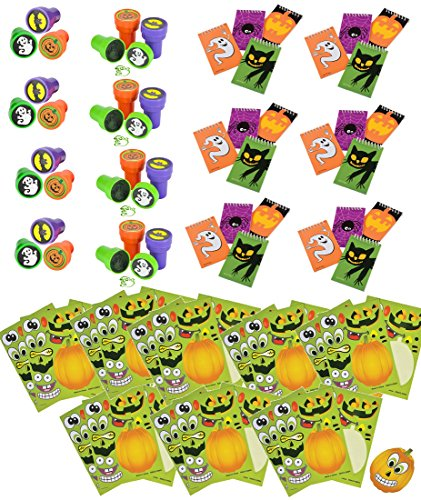 72 Piece Bulk Halloween Activity Pack and Party Favor Bundle Assortment for Kids Parties, Pinatas, Trick or Treat, Classroom or Carnivals