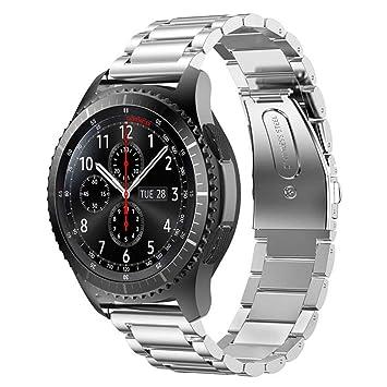 Metálica Milanesa Correa Para Samsung Gear S3 Frontier Reloj Correa, Para Samsung Galaxy Watch Cuero Banda de Reemplazo Tres Hebilla de Cuentas Correa ...