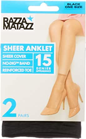 Razzamatazz Women's Pantyhose 15 Denier Value Anklets (2 Pack)