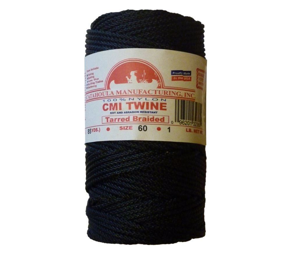 Catahoula 255 Manufacturing #60 Tarred Braided Nylon Twine (Bank Line) 500 lb Tensile Strength
