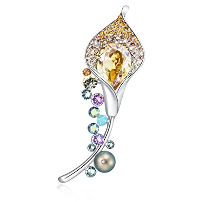 RAINBOW BOX Brooches for Women with Swarovski Crystal, Rhinestone Women's  Brooches & Pins for Mother Day