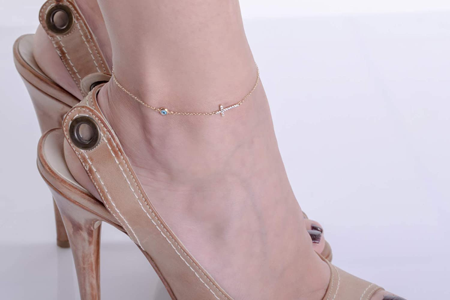 Bridesmaid gift Gold Anklet for Women Body chain Evil eye cross anklet Solid gold anklet Solid gold evil eye Rose evil eye Anklet