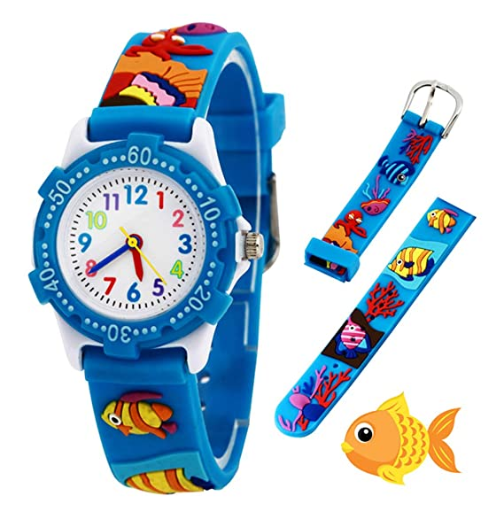 Relojes analógicos para niños Impermeables, Reloj de Pulsera para niños con Correa de Silicona 3D