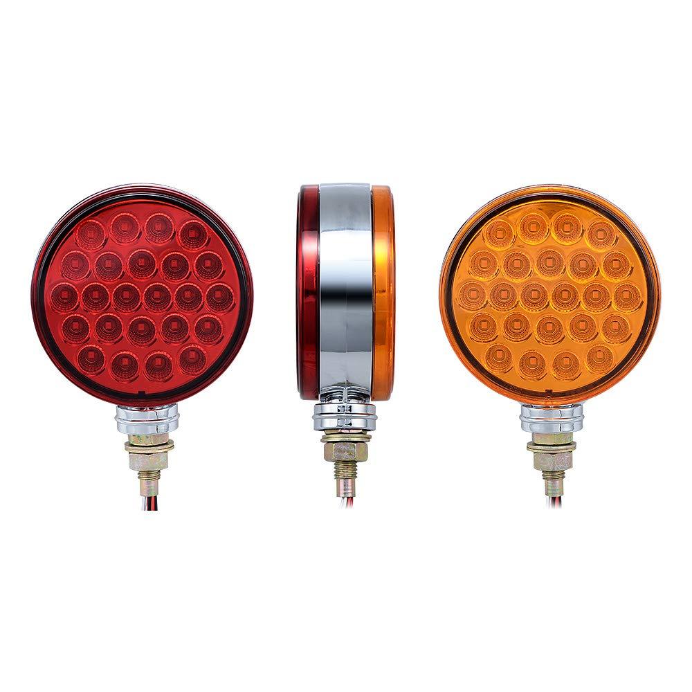 Set 2 Red//Amber 4 Round Dual Face Stud Mount 48 LED Stop Brake Side Maker Parking Pedestal Light with Reflector