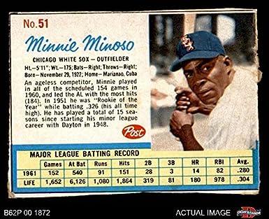 Amazoncom 1962 Post Cereal 51 Minnie Minoso Chicago