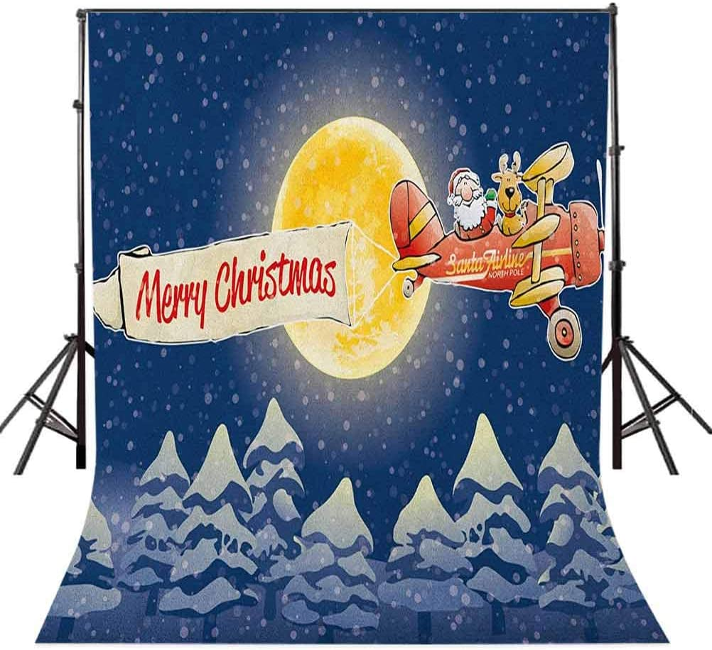 7x10 FT Christmas Vinyl Photography Background Backdrops,Santa Claus Airline Theme Vintage Plane Full Moon Snow Covered Trees Background for Photo Backdrop Studio Props Photo Backdrop Wall