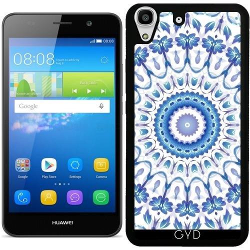 Funda de silicona para Huawei Y6 / Y6 DUAL - Azul Flores Blancas Mandala by Nina Baydur
