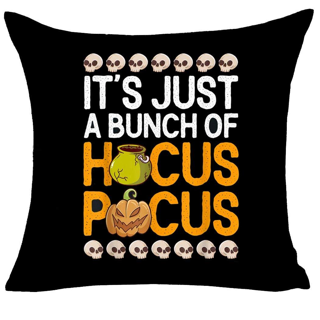 MFGNEH Pumpkin Head Skull It's Just A Bunch of Hocus Pocus Halloween Pillow Covers 18x18 Inch,Halloween Decor Cotton Linen Throw Pillow Case Cushion Cover,Black