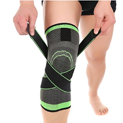 e09e17c556 Nicerokaka 1pcs 3D Weaving Knee Brace Breathable Sleeve Support Running Sport  Knee Pads (Green)